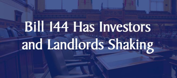 Ontario Bill 144 investors landlords rent control